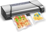 Vacuum Sealer for Food, 75kpa Automatic Food Saver Vacuum Sealer Machine, LCD Progress Display & Blow Suction Switch for Pro Vacuum Food Sealer with Starter Kit, Compact Design(Silver)