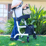 """Heavy Duty Rollator Walker -Stand-up Rollator Walker with 22""""Wide Seat with Adjustable Backrest and Pad Armrest for Senior Support Up to 450lbs"""