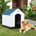 Durable Waterproof Plastic Pet Dog House Indoor Outdoor Puppy Shelter Kennel with Air Vents and Elevated Floor