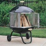 Portable Outdoor Backyard Wood Fire Pit On Wheels