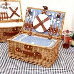 Large Insulated Wicker Picnic Basket Set