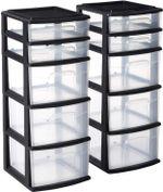 Storage Drawer,8 Drawer Medium Storage Tower, Black Frame, Clear Drawers
