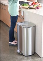 13.2 Gallon Stainless Steel Step Trash Can with Silent and Gentle Lid Close, 50 Liter Pedal Garbage Bin for Kitchen, Home, Office