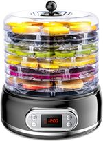 Food Dehydrator, 6-Tray Dryer for Beef Jerky Meat Fruit Dog Treats Herbs Vegetable Digital Time & Temperature Control Overheat Protection Fruit Roll Sheet Included BPA Free