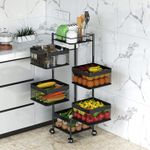 Rotating Multi-Layer Kitchen Storage Shelf,Fruit Vegetable Storage Basket,Floor-Standing Rolling Vertical Shelving,Multifunctional Household Shelf for Bedroom,Bathroom(Black, 6 Tier-Square)