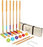 """Six Player Croquet Set for Adults & Kids - Modern Wood Design with Deluxe (35"""") and Standard (28"""") Options"""