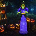 10Ft Halloween Inflatable Witch Blow up Yard Decorations with 248 Built-in LED Lights for Outdoor Holiday Party Decoration Lawn Garden Decor