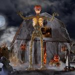 Halloween 12 ft inferno skeleton pumpkin prop decoration - scary tall giant hell pumpkin skeleton with animated LCD eye of life
