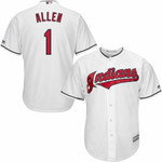Greg Allen Cleveland Indians Majestic Home Official Cool Base Player Jersey - White