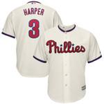 Bryce Harper Philadelphia Phillies Majestic Alternate Official Cool Base Player Jersey - Cream