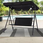 50.8'' Patio Swing Chair 3-Seat Outdoor Adjustable Canopy Swing w/ Removable Cushion