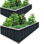 KING BIRD Raised Garden Bed 68''x36''x12'' x2 Packs, Galvanized Steel Metal Outdoor Planter Kit Box for Vegetables,Flowers, Fruits,Herbs
