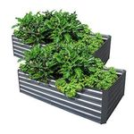 Galvanized Steel Raised Garden Bed Kit Extra Height Elevated Planter Box Steel Large Vegetable Flower Bed Kit (3.3 x 6.6 x 1.6 Ft, Zin--2 Pack)