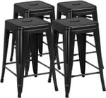 Yaheetech 24 inch barstools Set of 4 Counter Height Metal Bar Stools, Indoor/Outdoor Stackable Bartool Industrial High Backless Stools Black