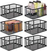 Modern Decor Metal Wire Food Organizer Storage Bin Basket for Kitchen Cabinets, Pantry, Bathroom, Laundry Room, Closets, Garage, 6 Pack - Black