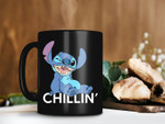 Black Mug Stitch Chillin Time Mug Stitch Lover Gift Disney Coffee Mug Relax Chillin Premium Sublime Ceramic Coffee Mug H99