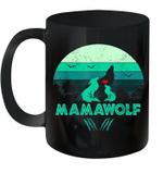 Black Mug Vintage Mamawolf Funny Wolf Mama Mother's Day Premium Sublime Ceramic Coffee Mug Y97