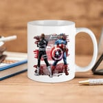White Mug Marvel Comics Captain America And Nick Fury Large Avengers Assemble Premium Sublime Ceramic Coffee Mug Y97