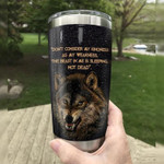 Wolf dont consider ay kindness as ay weakness Gift for lover Day Travel Tumbler All Over Print TL97