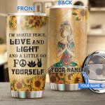 Custom name Peace Love Light Yoga Girl  Gift for lover Day Travel Tumbler All Over Print TL97
