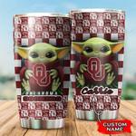 Baby Yoda Love Oklahoma Sooners Custom Name 1234 gift for lover Day Travel Tumbler All Over Print TL97