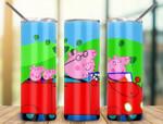 Family Peppa Pig cartoon 920 gift for lover Skinny Tumbler TL97