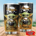 Custom name Led Zeppelin Baby yoda Star Wars Disney gift For Lovers Travel Tumbler All Over Print TL97