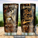 Fire Skull Couple Personalized Gift for lover Day Travel Tumbler All Over Print TL97