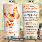 Personalized Orange Butterfly Mom To Daughter  Gift for lover Day Travel Tumbler All Over Print TL97