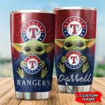 Texas Rangers Baby Yoda Custom Name Football 1234 gift for lover Day Travel Tumbler All Over Print TL97