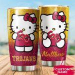 USC Trojans Hello Kitty Custom Name Football 1234 gift for lover Day Travel Tumbler All Over Print TL97
