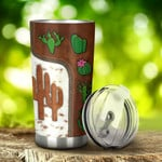 Personalized Cute Cactus Leather Pattern Gift for lover Day Travel Tumbler All Over Print TL97