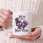 White Mug Alice in Wonderland Quotes Cheshire Cat We're All Mad Here Premium Sublime Ceramic Coffee Mug Y97