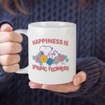 White Mug Snoopy Peanuts Happiness Is Spring Flowers Premium Sublime Ceramic Coffee Mug Y97