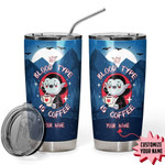 My Blood Type Is Coffee Vampire Custom Name Gift for lover Day Travel Tumbler All Over Print TL97