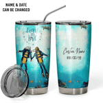 3D Scuba Diving Deeply In Love ocean Custom Name Gift for lover Day Travel Tumbler All Over Print TL97