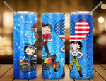 Racing Betty Boop USA flag 444 gift for lover Skinny Tumbler TL97
