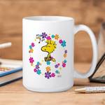White Mug Woodstock Cartoon Peanuts Love Music And Flowers Premium Sublime Ceramic Coffee Mug Y97