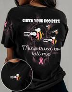 Breast Cancer Check Your Boo Bees 3D All Over 3D Hoodie Sweatshirt Zip Hoodie T shirt VA95