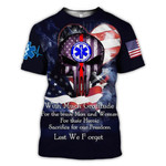 EMS American Heart Skull With Much Gratitude Lest We forget 3D T shirt G95