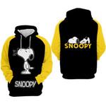 Snoopy cartoon peanuts black yellow for man and women 3D all over printed shirt hoodie Y97