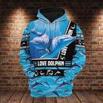 Dolphin Love In Ocean 3D All Over 3D Hoodie Sweatshirt Zip Hoodie T shirt VA95