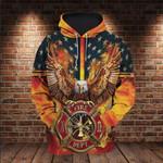 Firefighter Eagle American 3D All Over 3D Hoodie Sweatshirt Zip Hoodie T shirt VA95