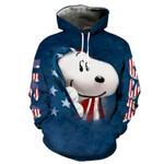 Disney Snoopy American Flag 3d All Over Printed Shirt Hoodie Y97