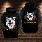 Vintage husky dog life is better with my husky for man and women 3D Hoodie Zip Hoodie Y97
