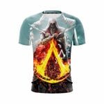 Assassin's Creed Bayek Flaming Symbol Crest Vibrant 3D T Shirt  All Over Printed G95
