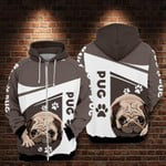 Pug dog animals 1 for man and women 3D all over printed zip hoodie Y97