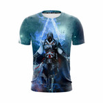 Assassin's Creed Ezio Epic Vibrant Blue Flame 3D T Shirt  All Over Printed G95