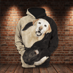 Yin Yang Retriever 3D All Over Gift For Dogs Lovers 3D Hoodie VA95