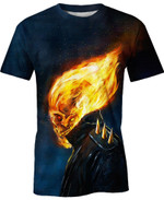 The Rider's Flaming Skull Movie Marvel For Man And Women  3D T Shirt  All Over Printed Y97